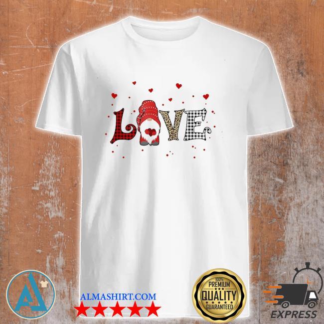 Love gnome Valentines day heart buffalo plaid leopard new 2021 shirt