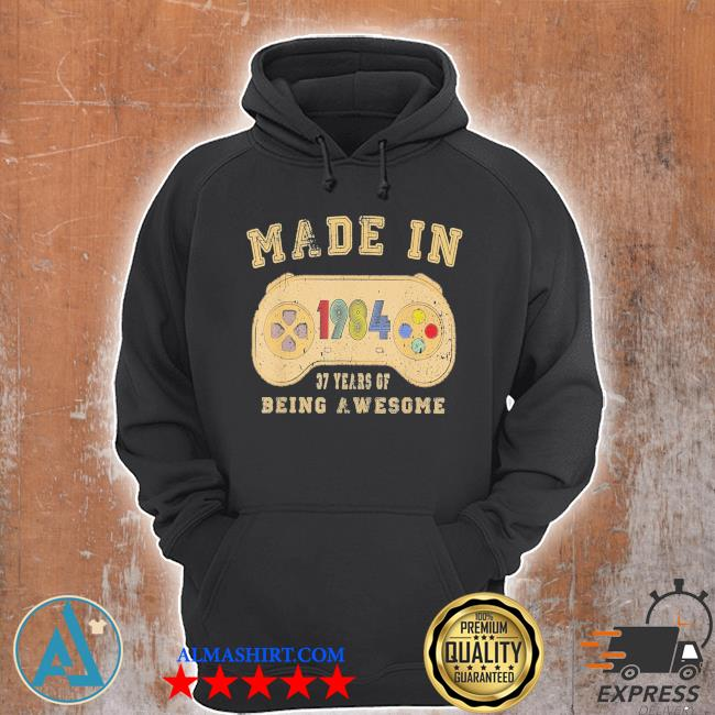 Vintage made in 1984 video game 37th birthday new 2021 s Unisex Hoodie