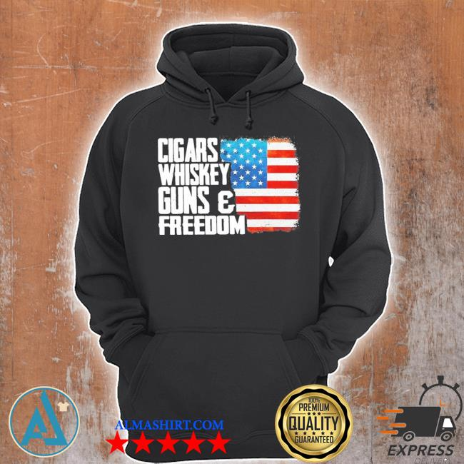 Cigars whiskey gun and freedom flag American s Unisex Hoodie