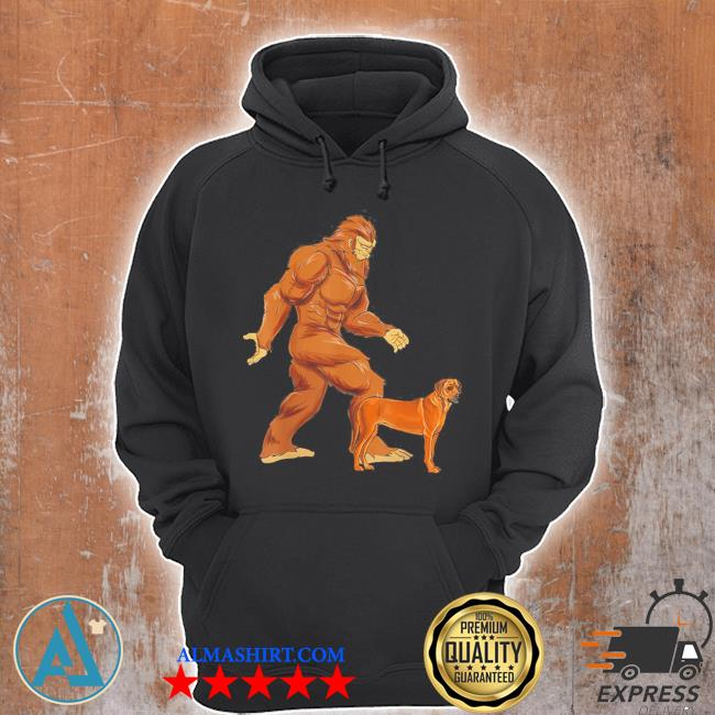 Funny bigfoot walking rhodesian ridgeback sasquatch dog s Unisex Hoodie