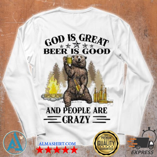 God is great bbq is good and people are crazy graphic funny camping s Unisex longsleeve