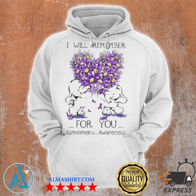 I will remember for you alzheimer's awareness elephant heart flower s Unisex Hoodie