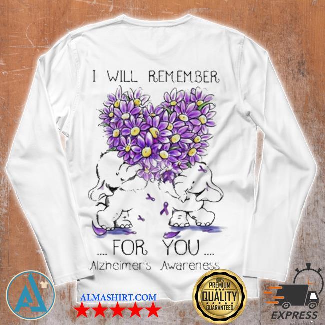 I will remember for you alzheimer's awareness elephant heart flower s Unisex longsleeve
