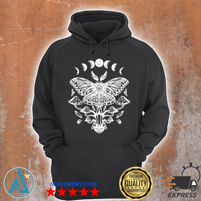 Moth crystals moon phases dark goth gothic occult wicca new 2021 s Unisex Hoodie
