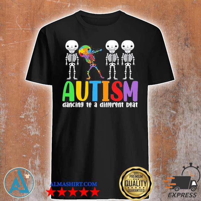 Skeleton dancing to a different beat autism awareness hot shirt