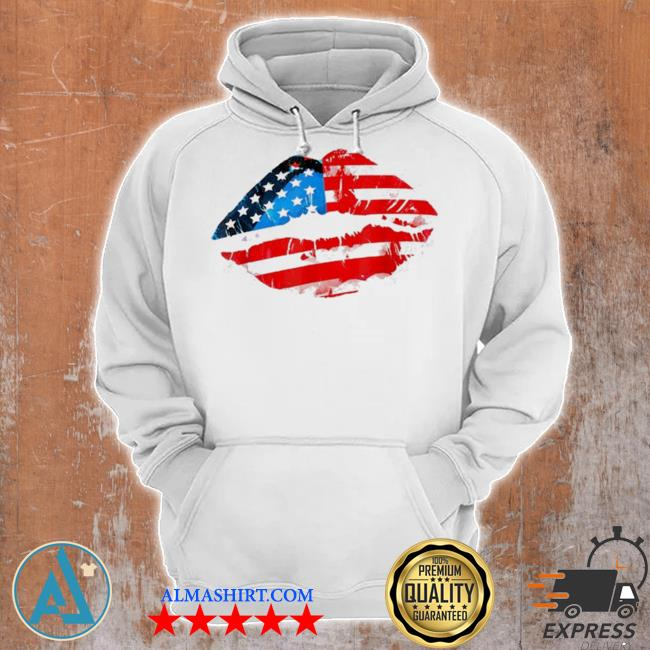 Vintage American flag lips 4th of july patriotic usa day s Unisex Hoodie