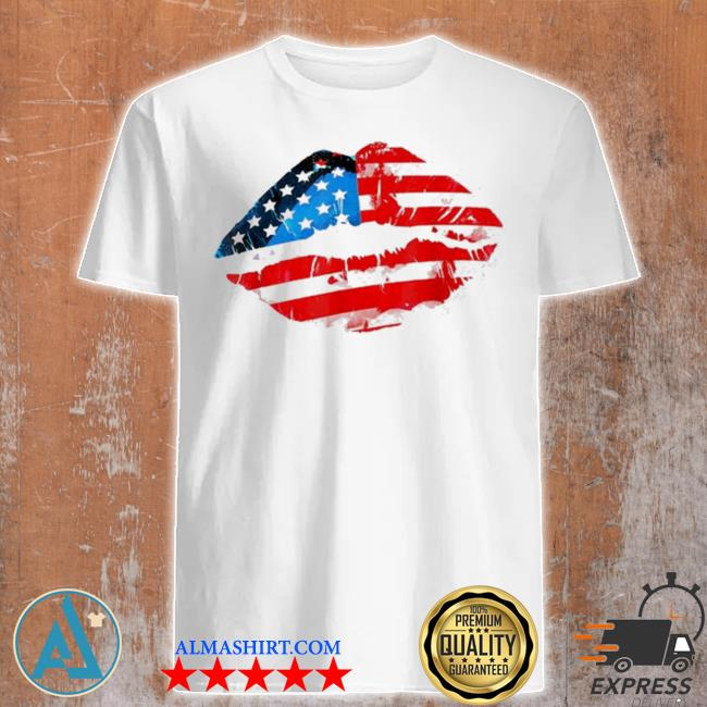 Vintage American flag lips 4th of july patriotic usa day shirt