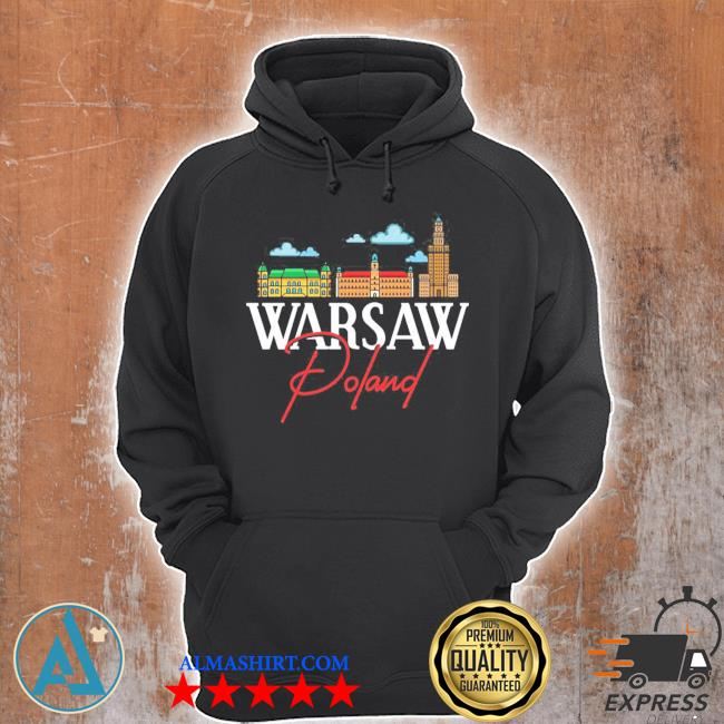 Warsaw Poland City Skyline Map Travel s Unisex Hoodie