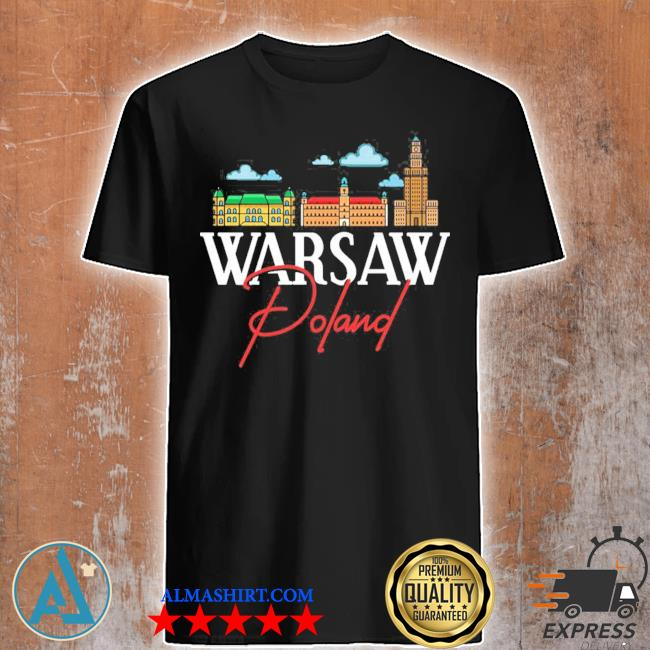 Warsaw Poland City Skyline Map Travel shirt