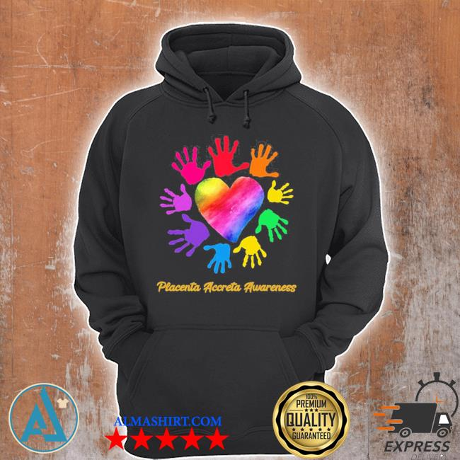 We wear rainbow heart for placenta accreta awareness hot s Unisex Hoodie