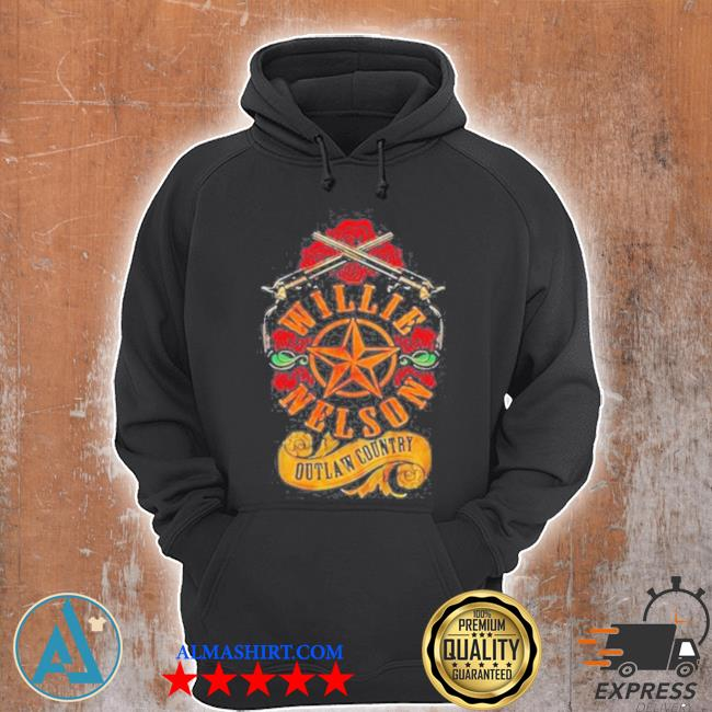 Willie nelson outlaw country roses gun star s Unisex Hoodie